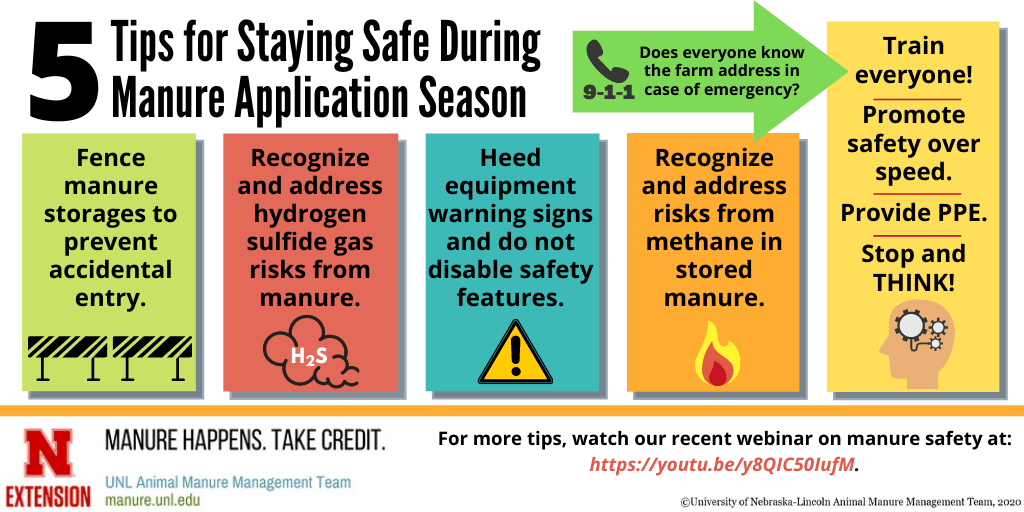 5 tips for staying safe during manure application season infographic