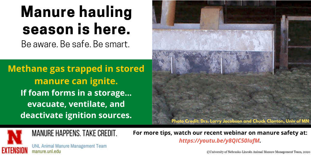 Manure hauling season is here, methane gas trapped in stored manure can ignite infographic