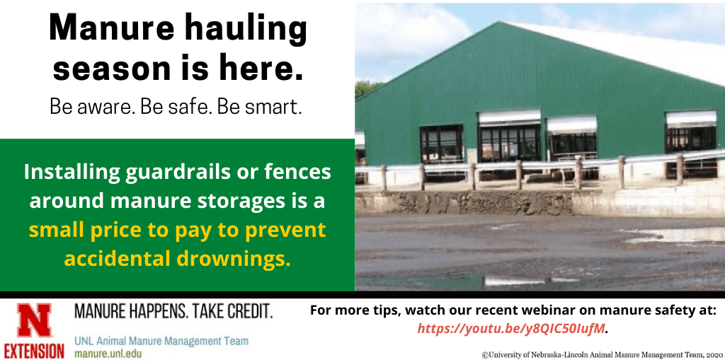 Manure hauling season is here, installing guardrails or fences around manure storages is a small price to pay to prevent accidental drownings infographic