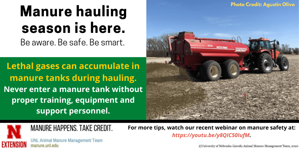 Manure hauling season is here, lethal gases can accumulate in manure tanks during hauling infographic